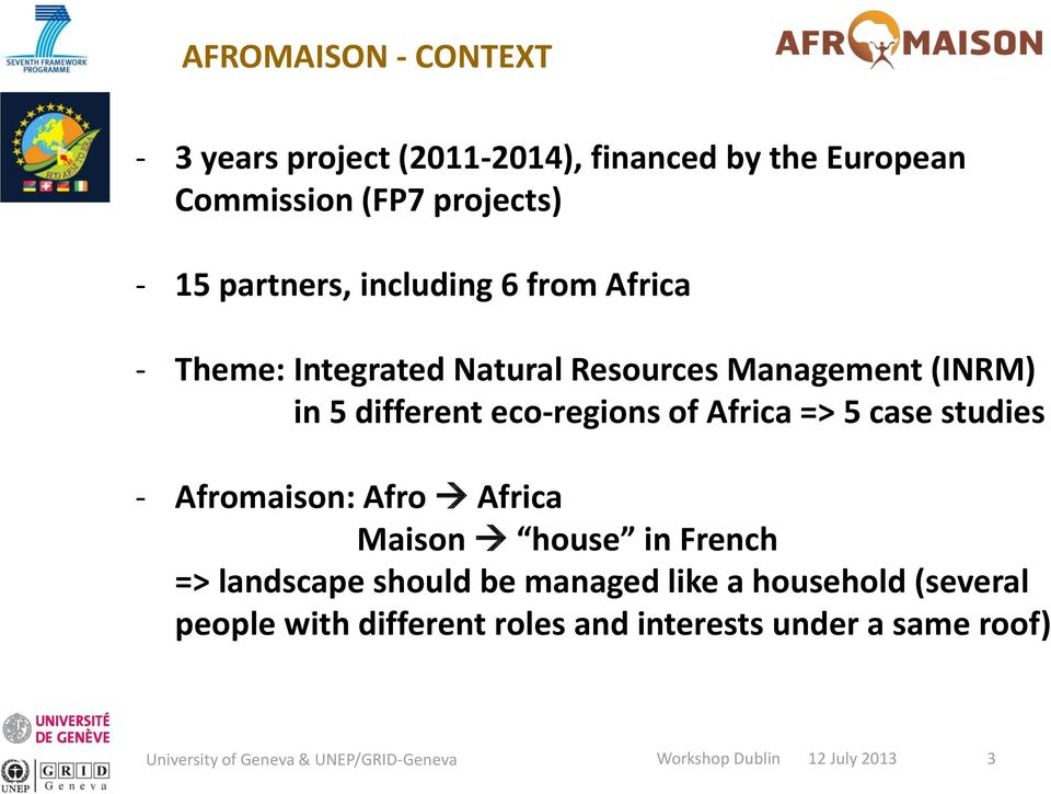 different eco-regions of Africa => 5 case studies - Afromaison: Afro Africa Maison house in French =>