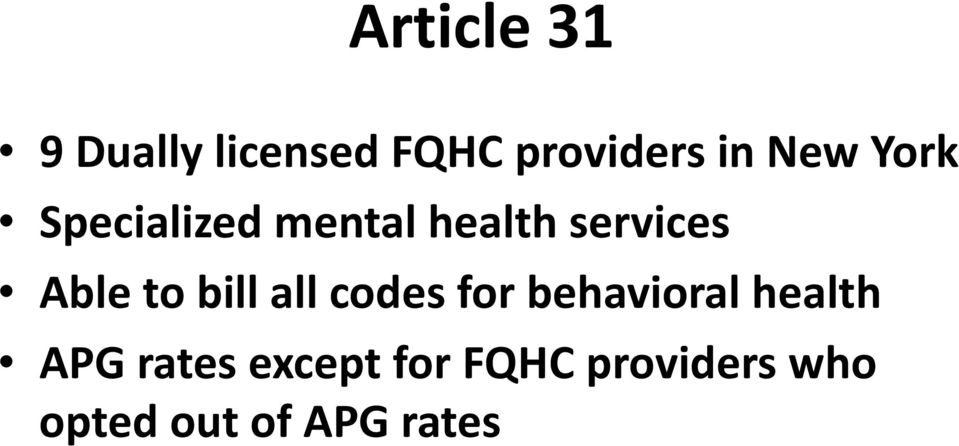to bill all codes for behavioral health APG rates