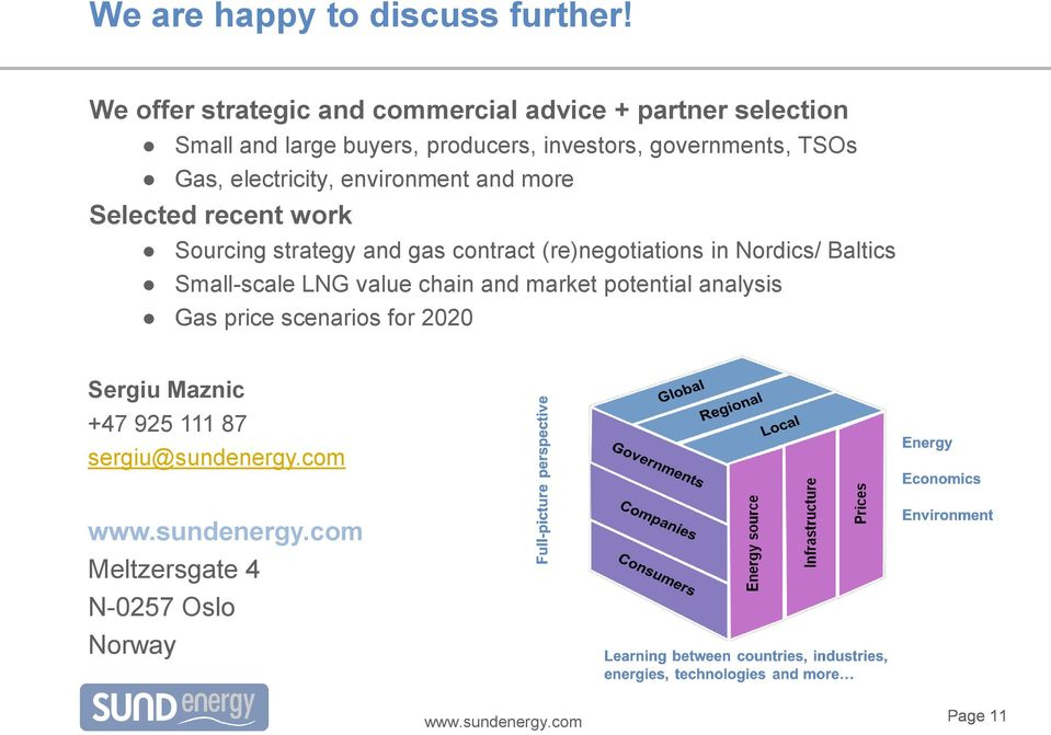 governments, TSOs Gas, electricity, environment and more Selected recent work Sourcing strategy and gas contract