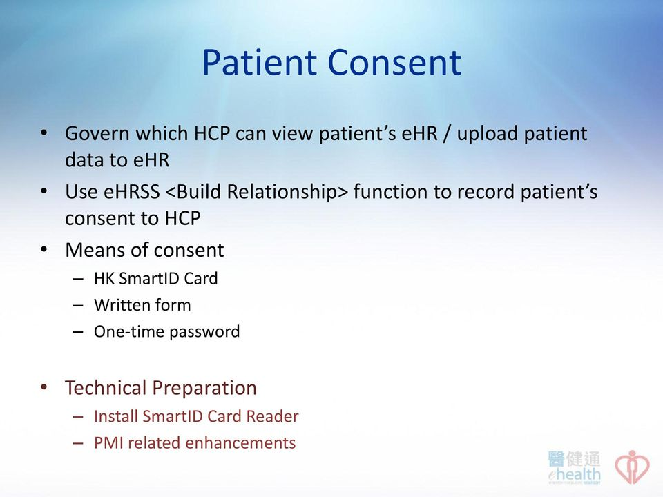 consent to HCP Means of consent HK SmartID Card Written form One-time