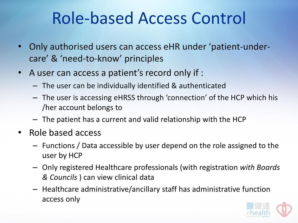 current and valid relationship with the HCP Role based access Functions / Data accessible by user depend on the role assigned to the user by HCP Only registered
