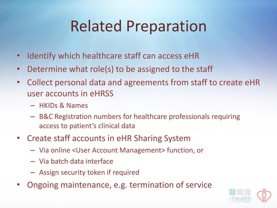 healthcare professionals requiring access to patient s clinical data Create staff accounts in ehr Sharing System Via online