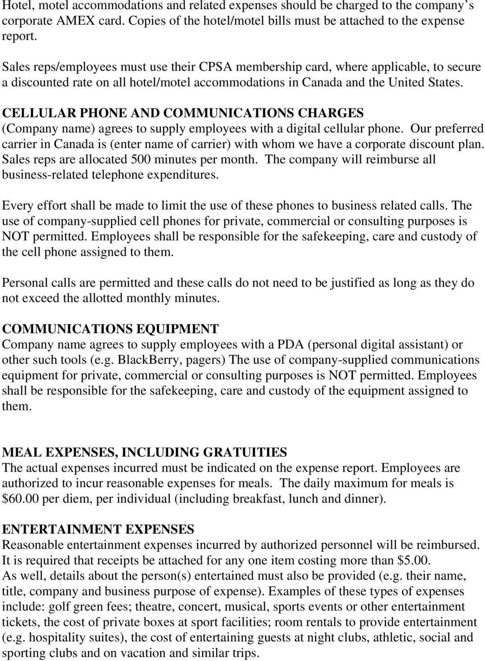 CELLULAR PHONE AND COMMUNICATIONS CHARGES (Company name) agrees to supply employees with a digital cellular phone.