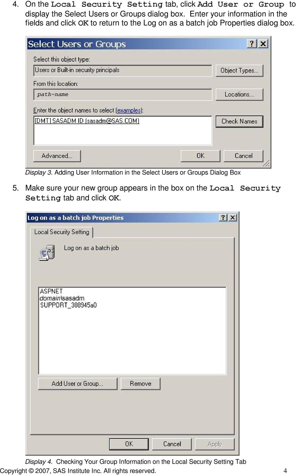 Adding User Information in the Select Users or Groups Dialog Box 5.