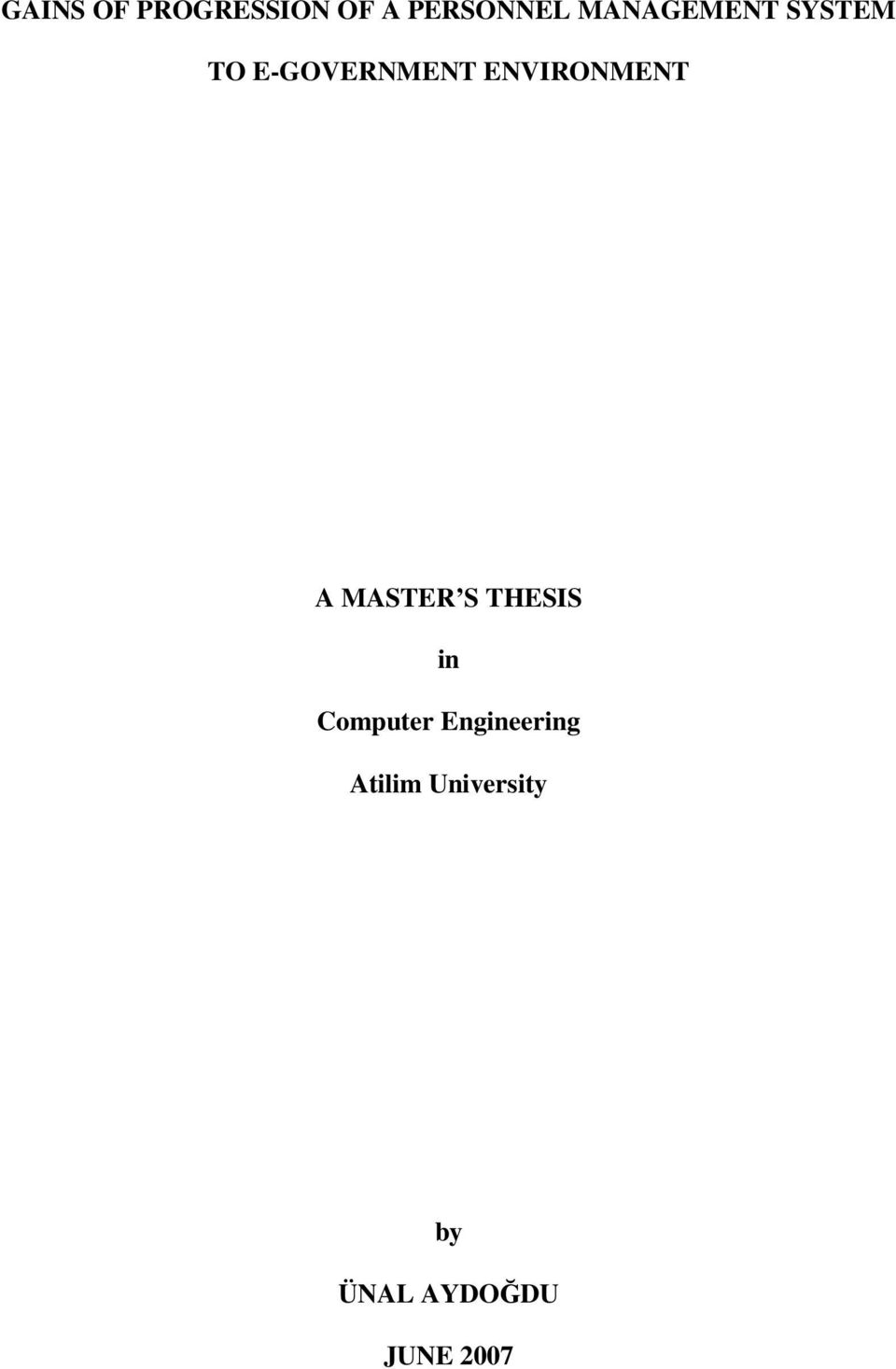 ENVIRONMENT A MASTER S THESIS in Computer