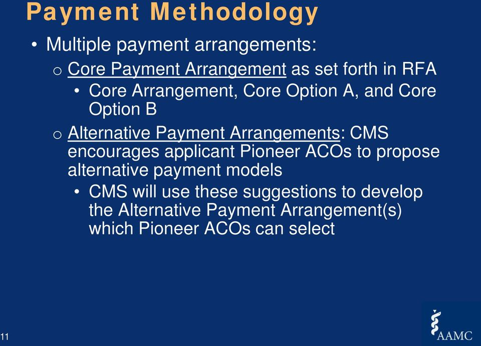 CMS encourages applicant Pioneer ACOs to propose alternative payment models CMS will use