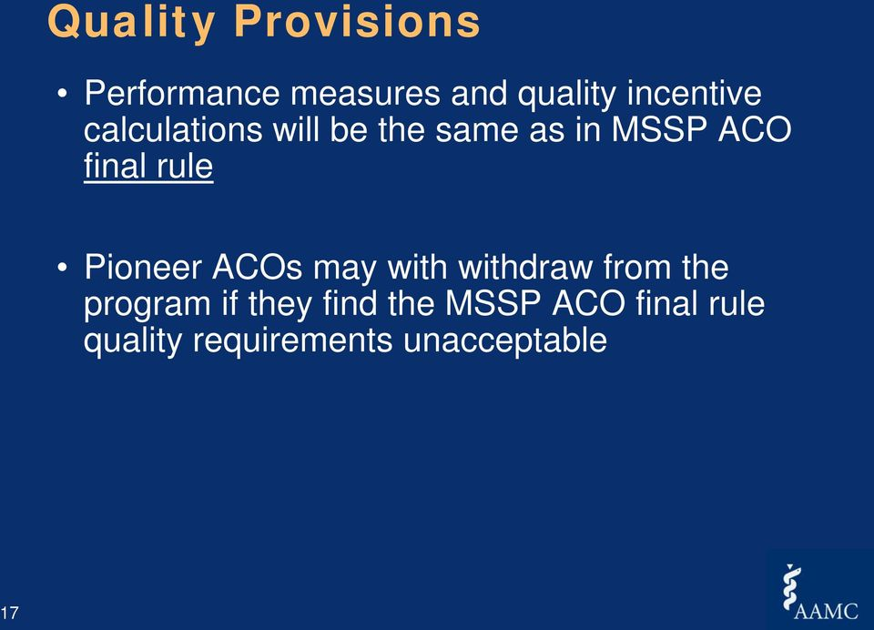 final rule Pioneer ACOs may with withdraw from the program