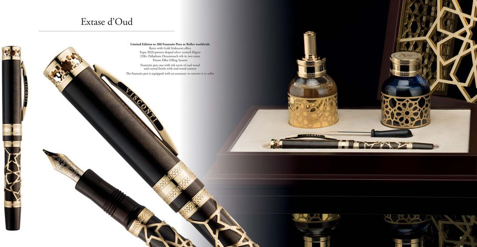 Filler Filling System Fountain pen case with ink scent of oud wood and crystal