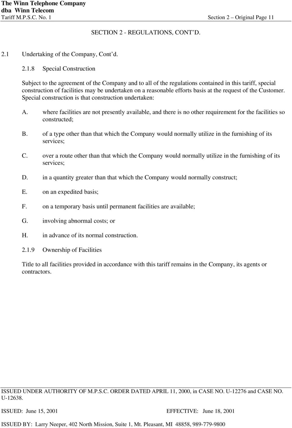 SECTION 2 - REGULATIONS, CONT D. 2.1