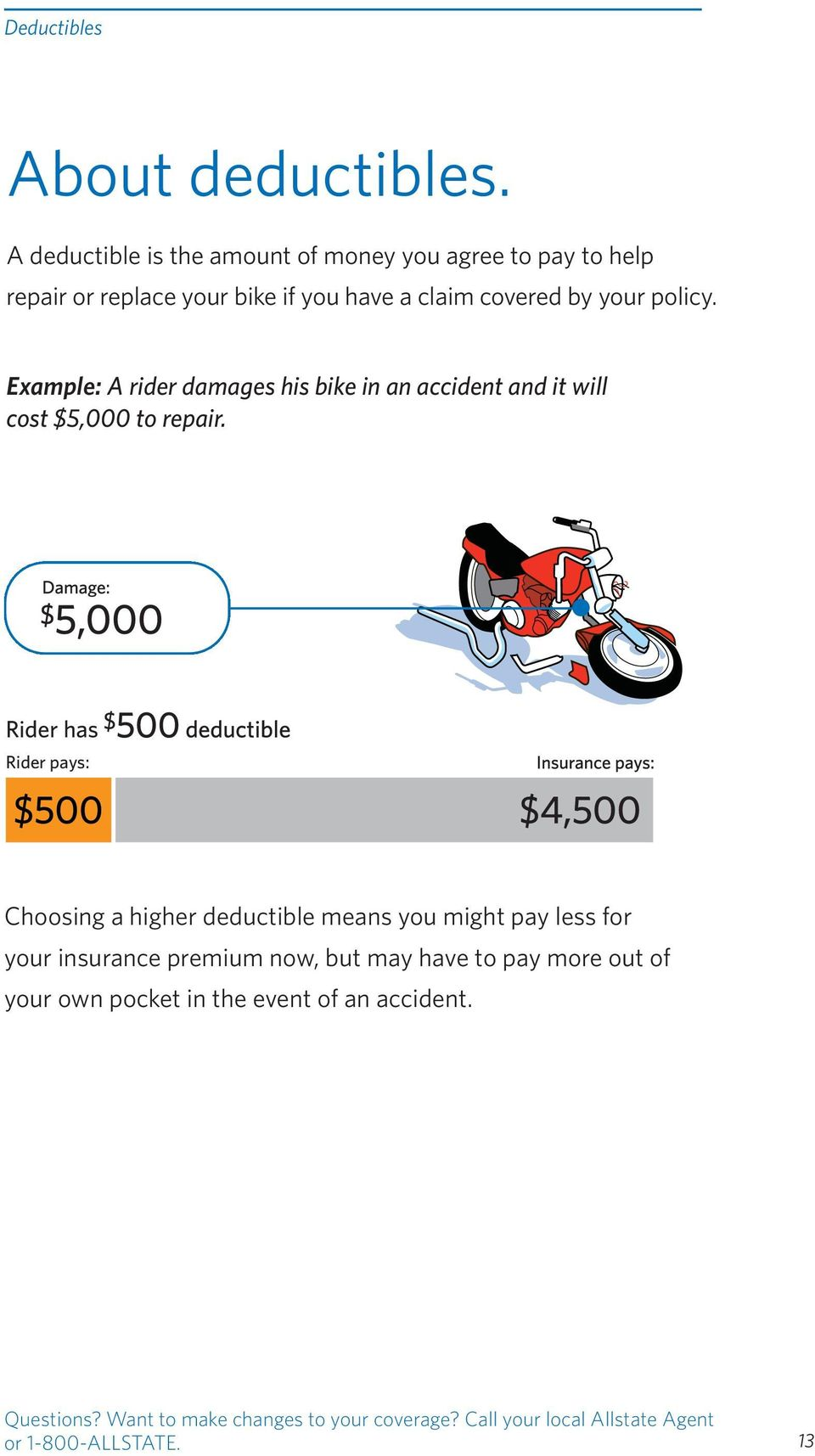 Example: A rider damages his bike in an accident and it will cost $5,000 to repair.