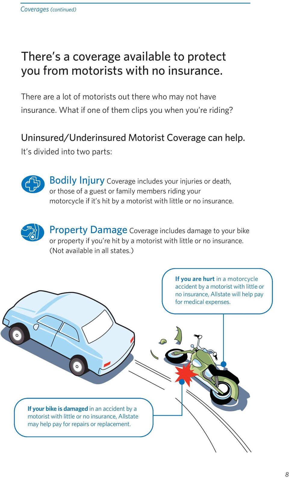 It s divided into two parts: Bodily Injury Coverage includes your injuries or death, or those of a guest or family members riding your motorcycle if it s hit by a motorist with little or no insurance.