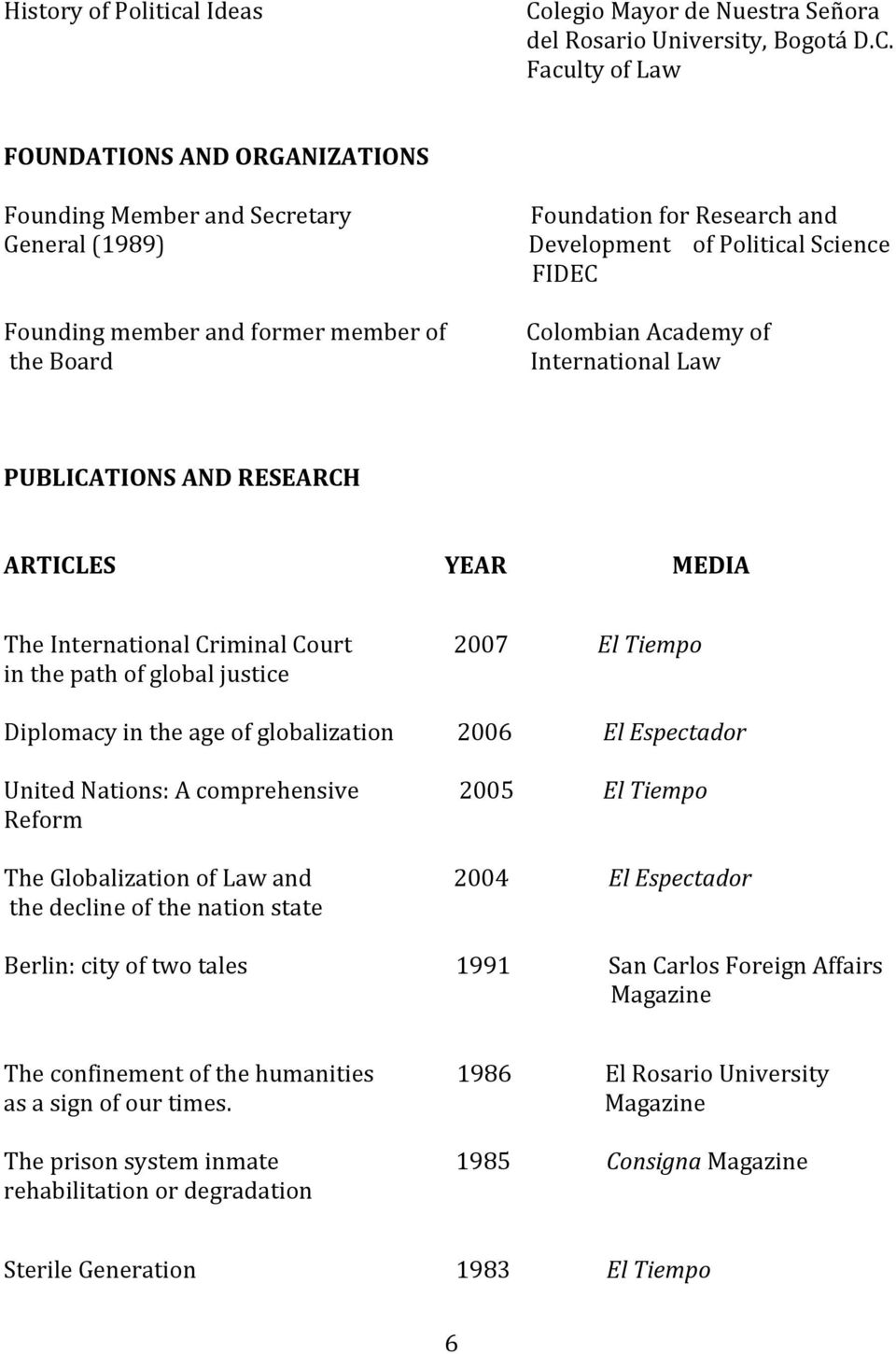 FIDEC Colombian Academy of International Law PUBLICATIONS AND RESEARCH ARTICLES YEAR MEDIA The International Criminal Court 2007 El Tiempo in the path of global justice Diplomacy in the age of