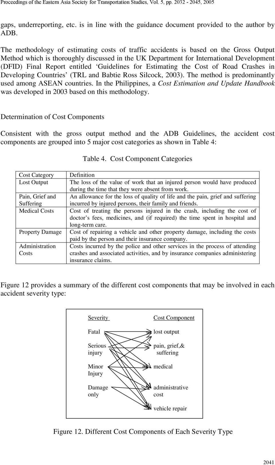 entitled Guidelines for Estimating the Cost of Road Crashes in Developing Countries (TRL and Babtie Ross Silcock, 23). The method is predominantly used among ASEAN countries.