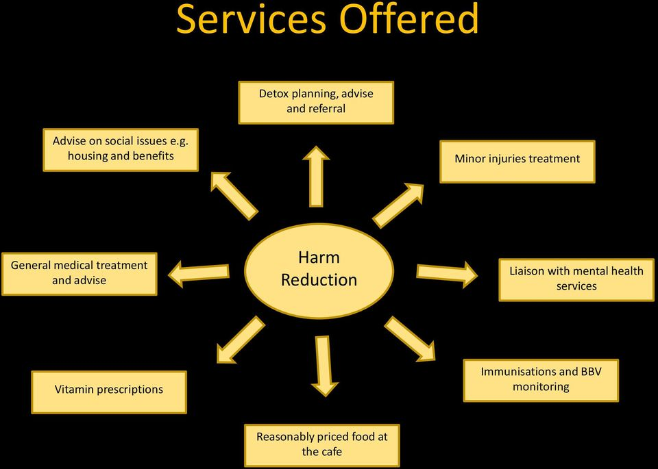 and advise Harm Reduction Liaison with mental health services Vitamin