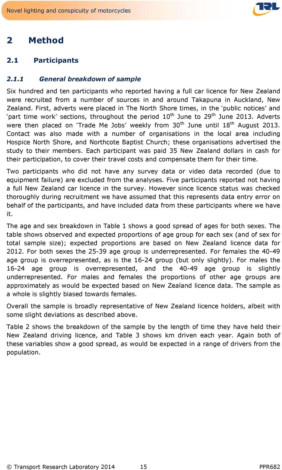 1 General breakdown of sample Six hundred and ten participants who reported having a full car licence for New Zealand were recruited from a number of sources in and around Takapuna in Auckland, New