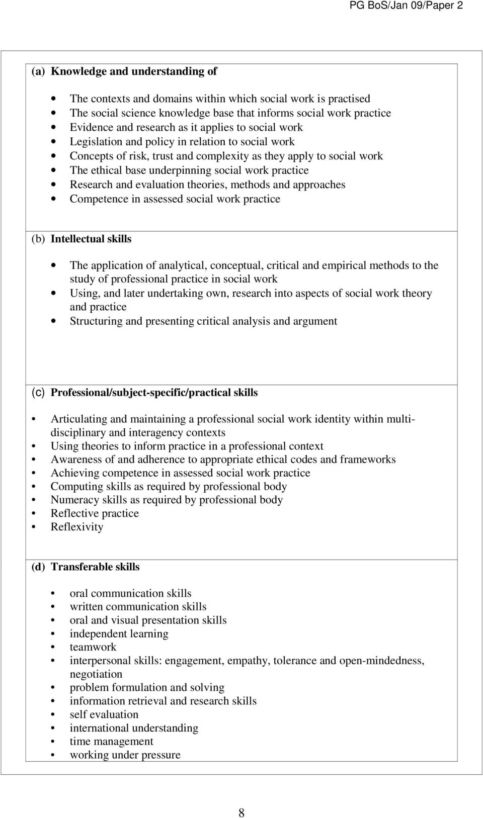 Research and evaluation theories, methods and approaches Competence in assessed social work practice (b) Intellectual skills The application of analytical, conceptual, critical and empirical methods