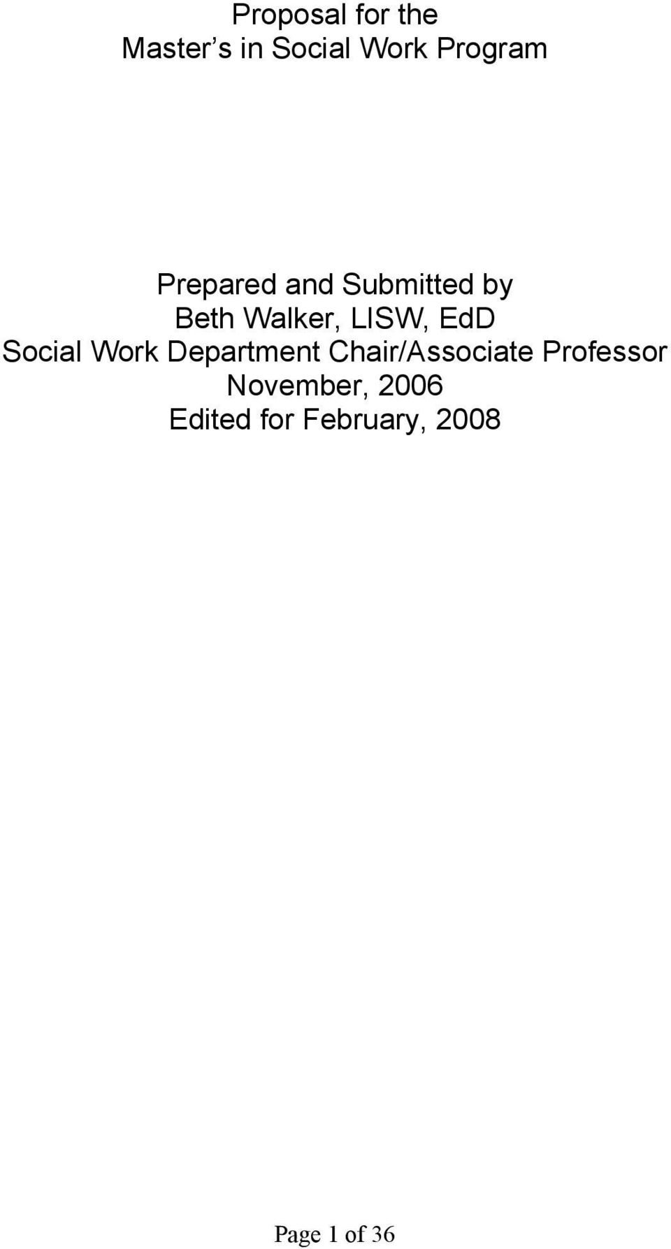Social Work Department Chair/Associate Professor