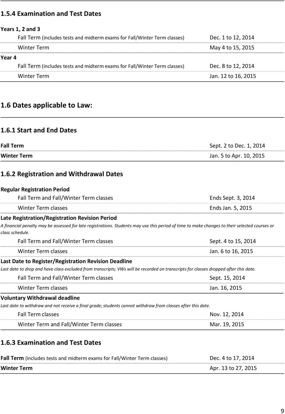 6 Dates applicable to Law: 1.6.1 Start and End Dates Fall Term Sept. 2 to Dec. 1, 2014 Winter Term Jan. 5 to Apr. 10, 2015 1.6.2 Registration and Withdrawal Dates Regular Registration Period Fall Term and Fall/Winter Term classes Ends Sept.