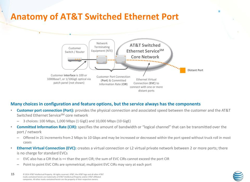 choices in configuration and feature options, but the service always has the components Customer port connection (Port): provides the physical connection and associated speed between the customer and