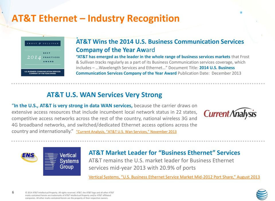 Business Communication services coverage, which includes Wavelength Services and Ethernet Document Title: 2014 U.S. Business Communication Services Company of the Year Award Publication Date: December 2013 AT&T U.