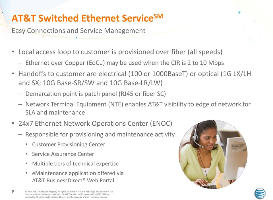 or fiber SC) Network Terminal Equipment (NTE) enables AT&T visibility to edge of network for SLA and maintenance 24x7 Ethernet Network Operations Center (ENOC) Responsible for