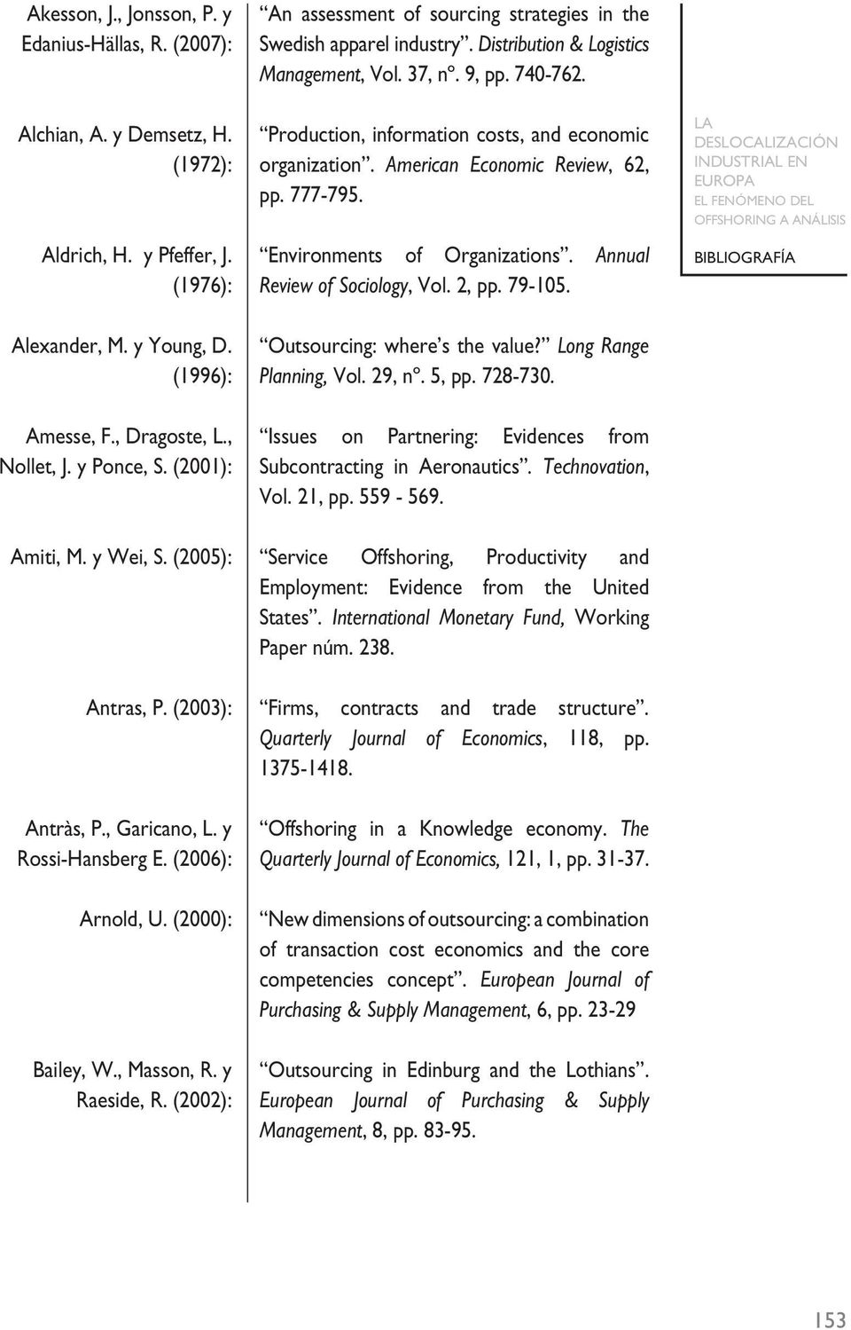 Annual (1976): Review of Sociology, Vol. 2, pp. 79-105. Alexander, M. y Young, D. Outsourcing: where s the value? Long Range (1996): Planning, Vol. 29, nº. 5, pp. 728-730. Amesse, F., Dragoste, L.