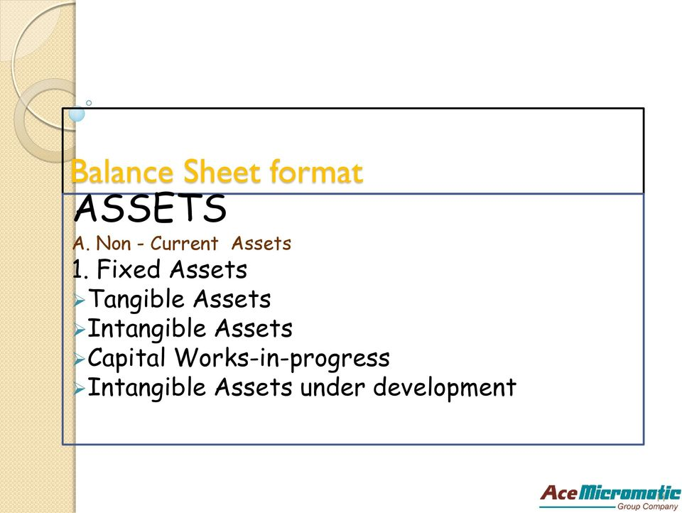 Fixed Assets Tangible Assets Intangible