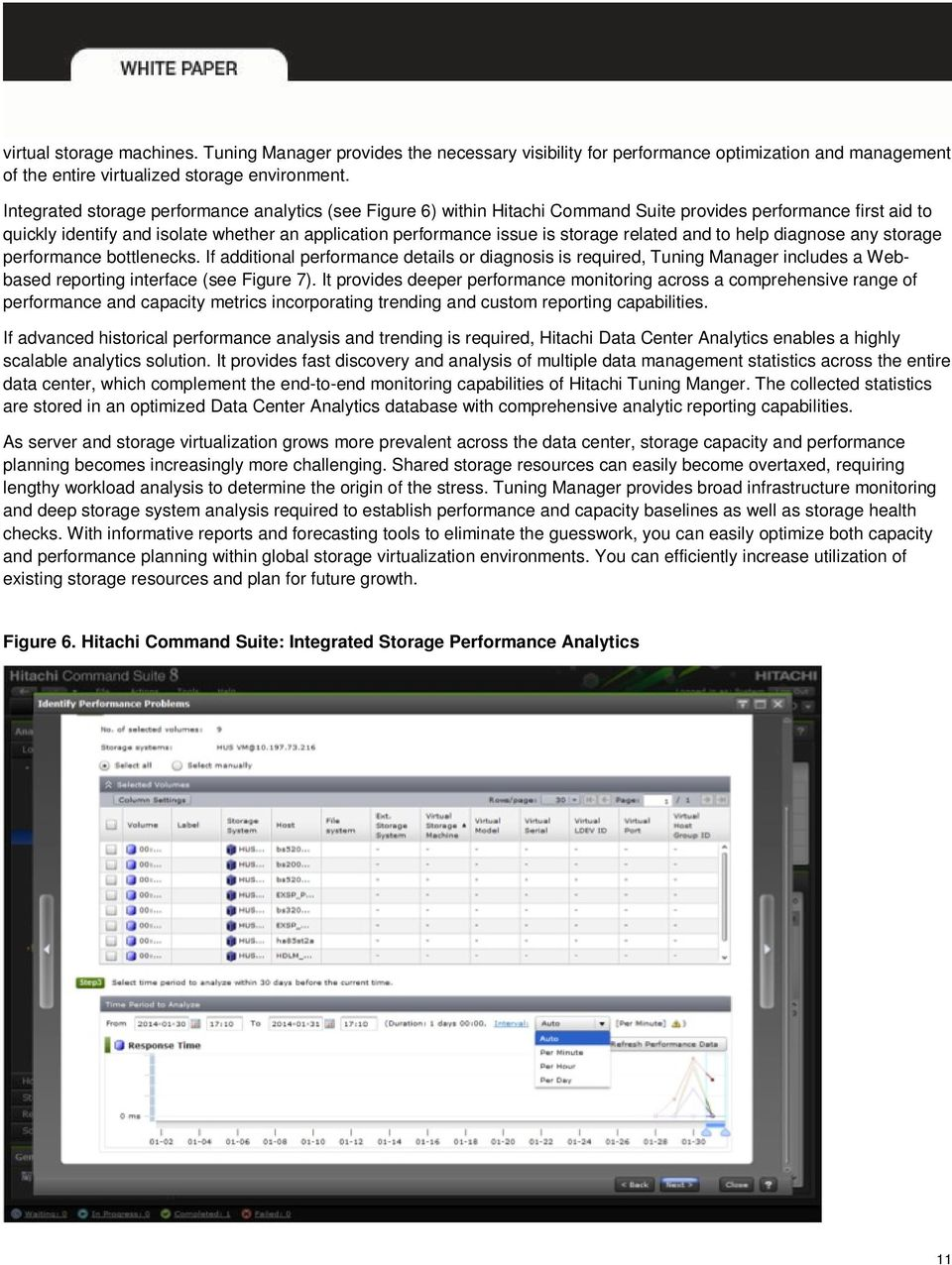 related and to help diagnose any storage performance bottlenecks. If additional performance details or diagnosis is required, Tuning Manager includes a Webbased reporting interface (see Figure 7).