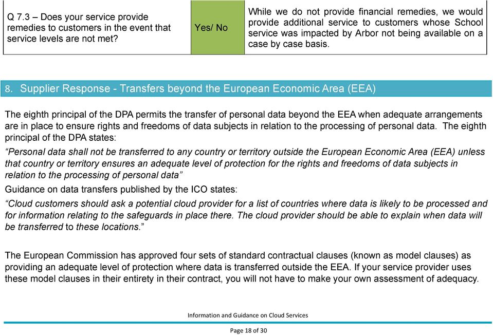 Supplier Response - Transfers beyond the European Economic Area (EEA) The eighth principal of the DPA permits the transfer of personal data beyond the EEA when adequate arrangements are in place to