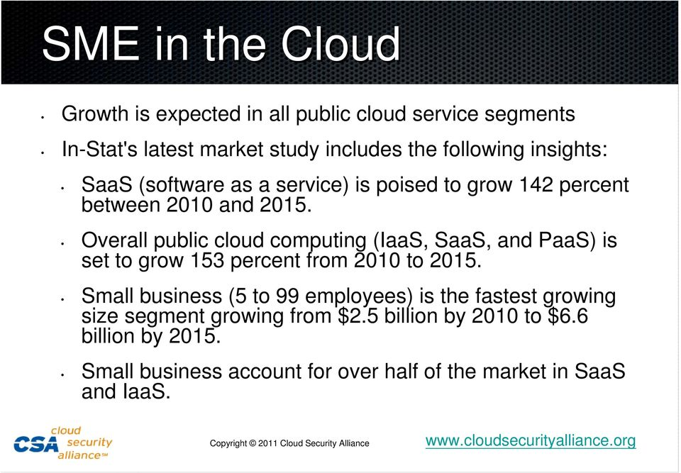 Overall public cloud computing (IaaS, SaaS, and PaaS) is set to grow 153 percent from 2010 to 2015.
