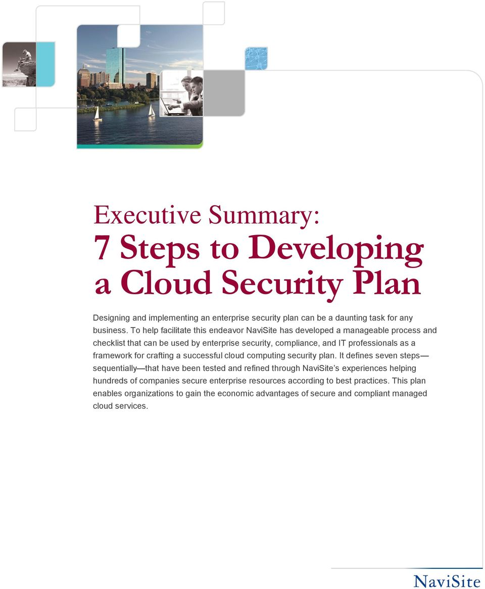 framework for crafting a successful cloud computing security plan.