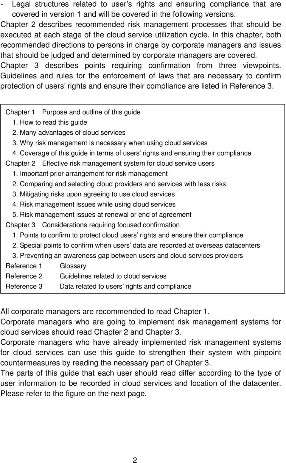 In this chapter, both recommended directions to persons in charge by corporate managers and issues that should be judged and determined by corporate managers are covered.