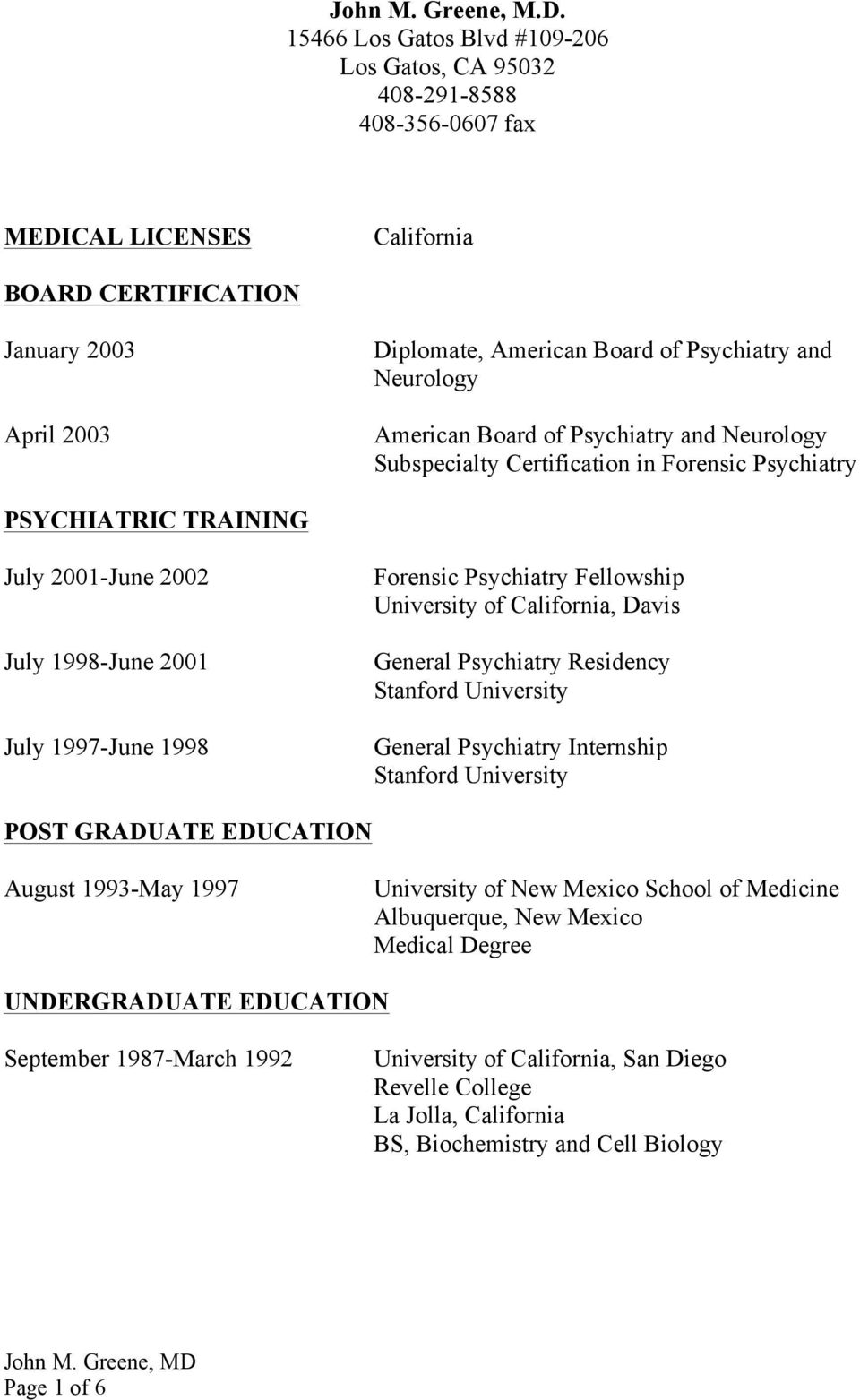 Neurology American Board of Psychiatry and Neurology Subspecialty Certification in Forensic Psychiatry PSYCHIATRIC TRAINING July 2001-June 2002 July 1998-June 2001 July 1997-June 1998 Forensic