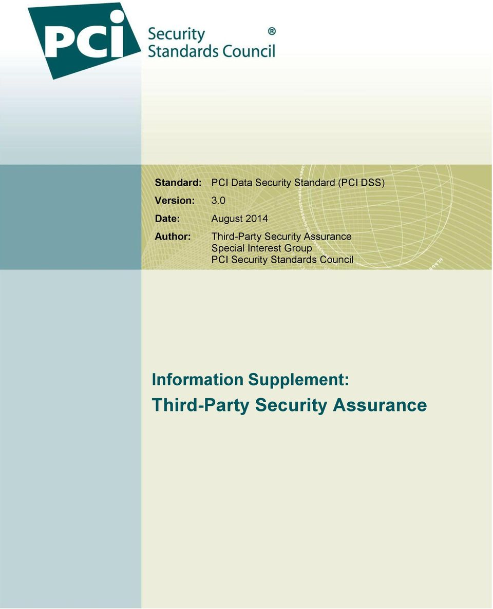 Assurance Special Interest Group PCI Security Standards