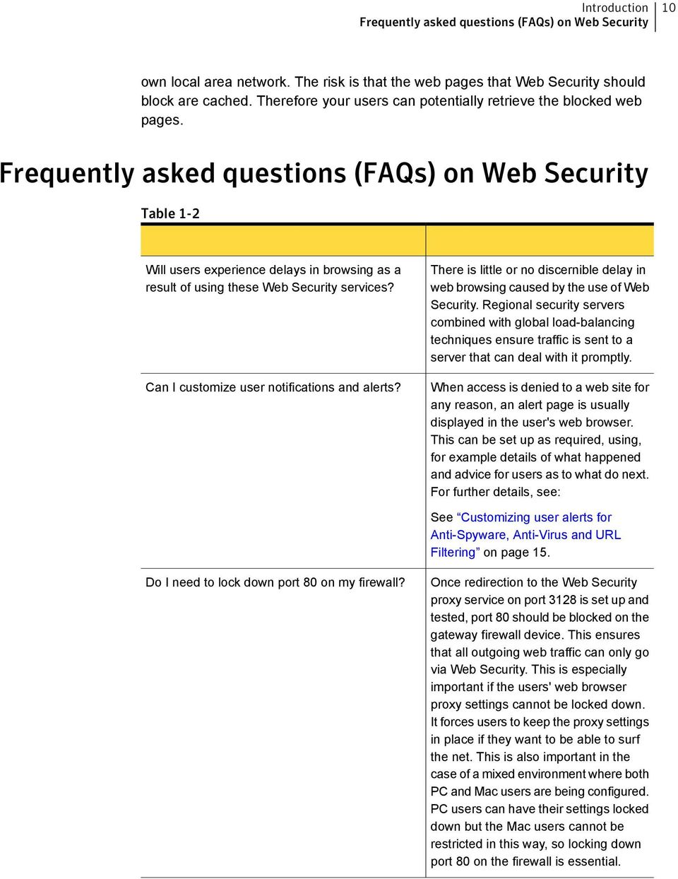 Frequently asked questions (FAQs) on Web Security Table 1-2 Will users experience delays in browsing as a result of using these Web Security services? Can I customize user notifications and alerts?