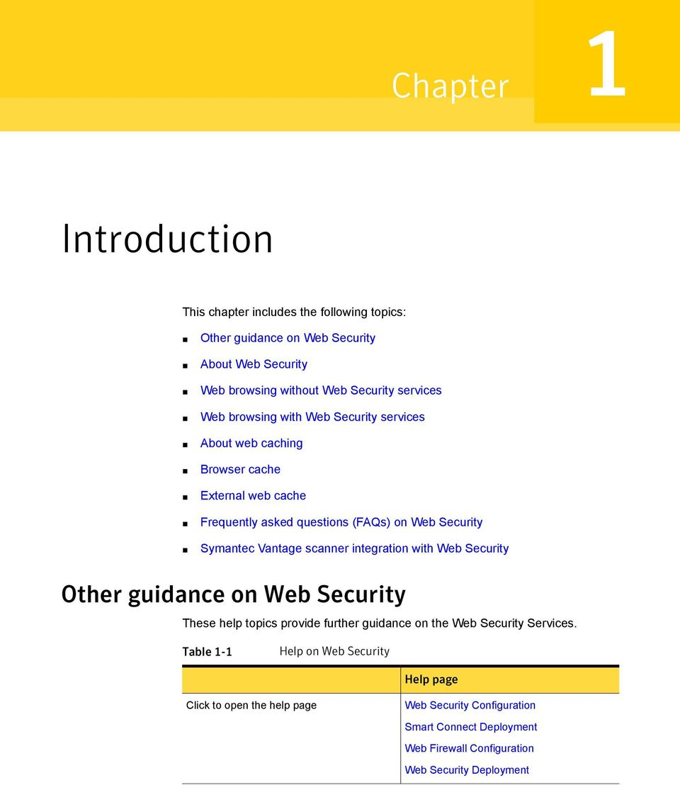 Symantec Vantage scanner integration with Web Security Other guidance on Web Security These help topics provide further guidance on the Web Security Services.