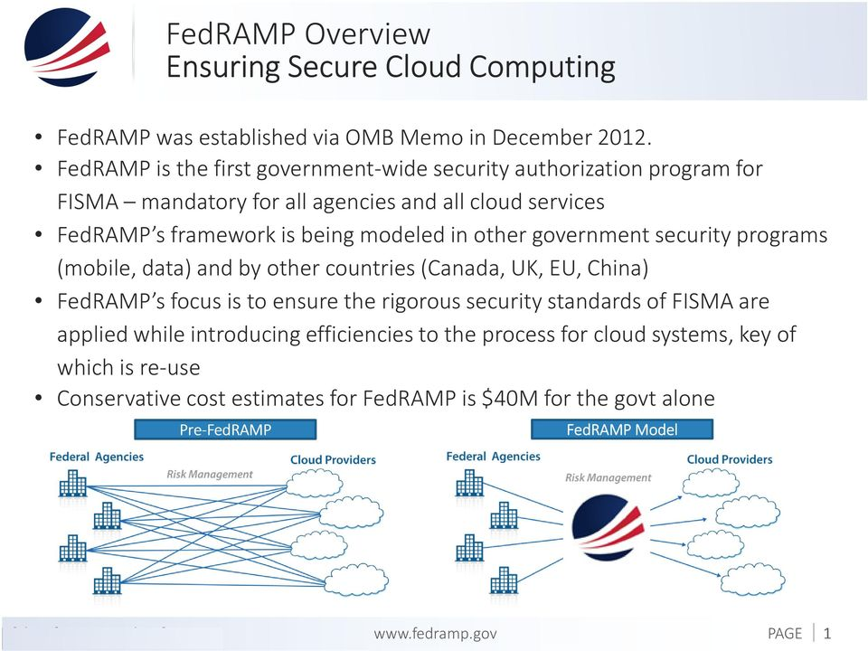 in other government security programs (mobile, data) and by other countries (Canada, UK, EU, China) FedRAMP s focus is to ensure the rigorous security standards of