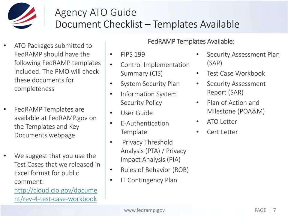 gov/docume nt/rev-4-test-case-workbook Agency ATO Guide DocumentChecklist Templates Available FIPS 199 FedRAMP Templates Available: Control Implementation Summary (CIS) System Security Plan