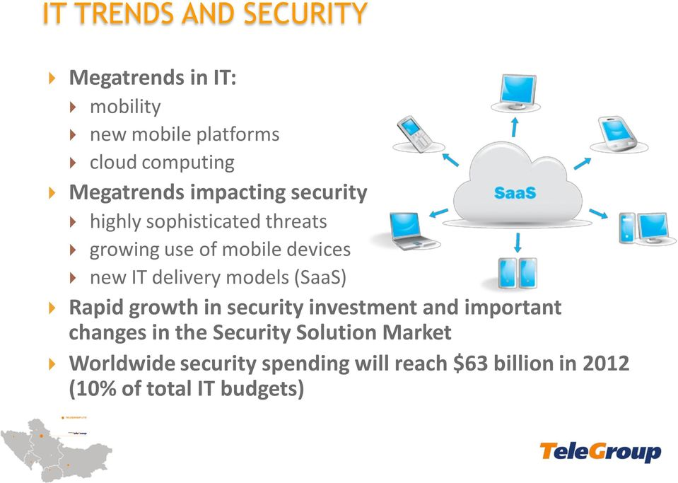 IT delivery models (SaaS) Rapid growth in security investment and important changes in the