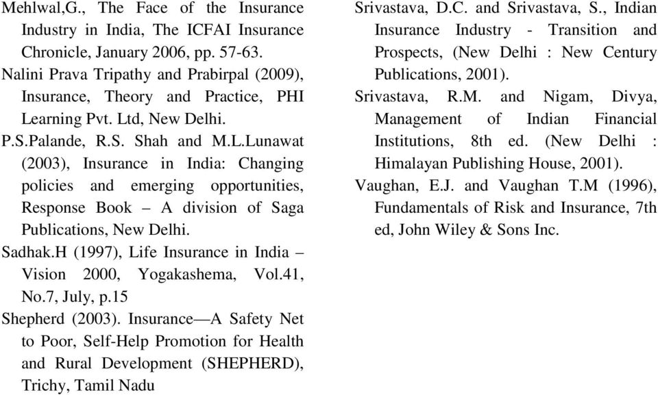 arning Pvt. Ltd, New Delhi. P.S.Palande, R.S. Shah and M.L.Lunawat (2003), Insurance in India: Changing policies and emerging opportunities, Response Book A division of Saga Publications, New Delhi.