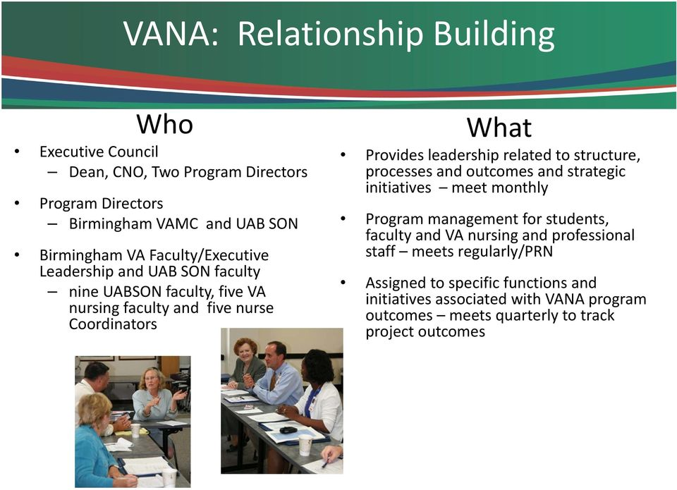 related to structure, processes and outcomes and strategic initiatives meet monthly Program management for students, faculty and VA nursing and