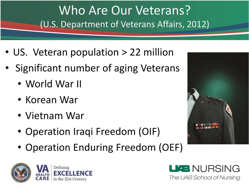 Veteran population > 22 million Significant number of aging