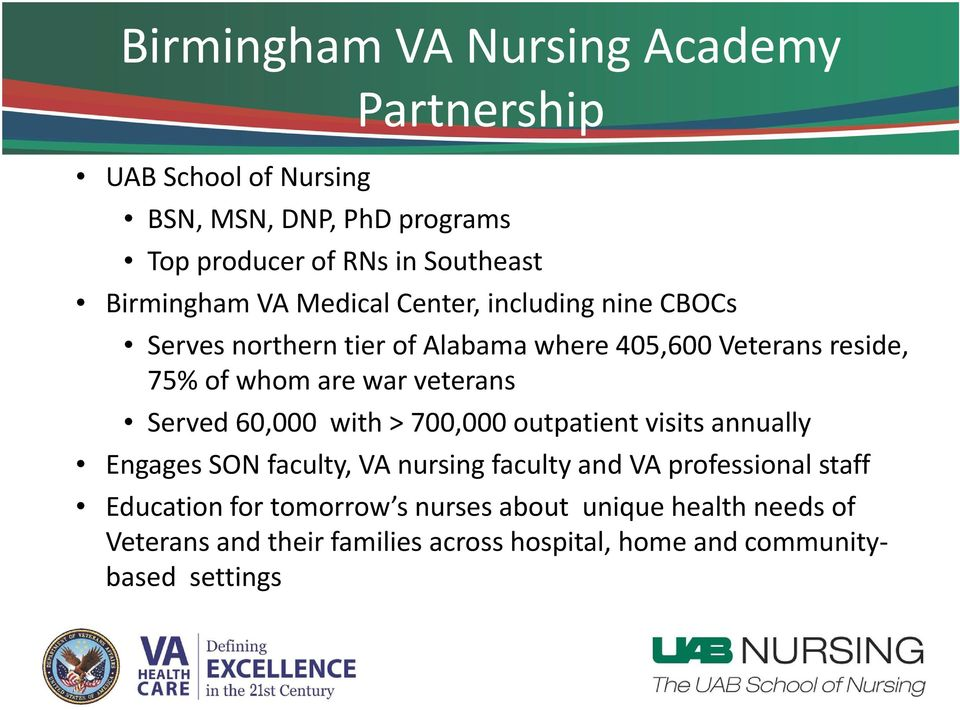 war veterans Served 60,000 with > 700,000 outpatient visits annually Engages SON faculty, VA nursing faculty and VA professional