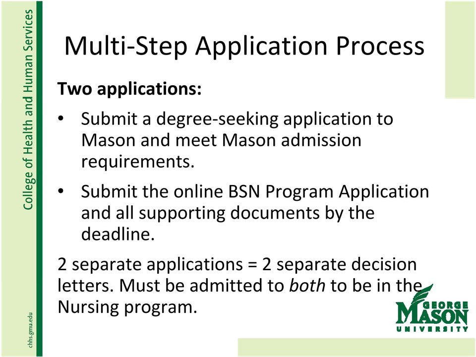 Submit the online BSN Program Application and all supporting documents by the