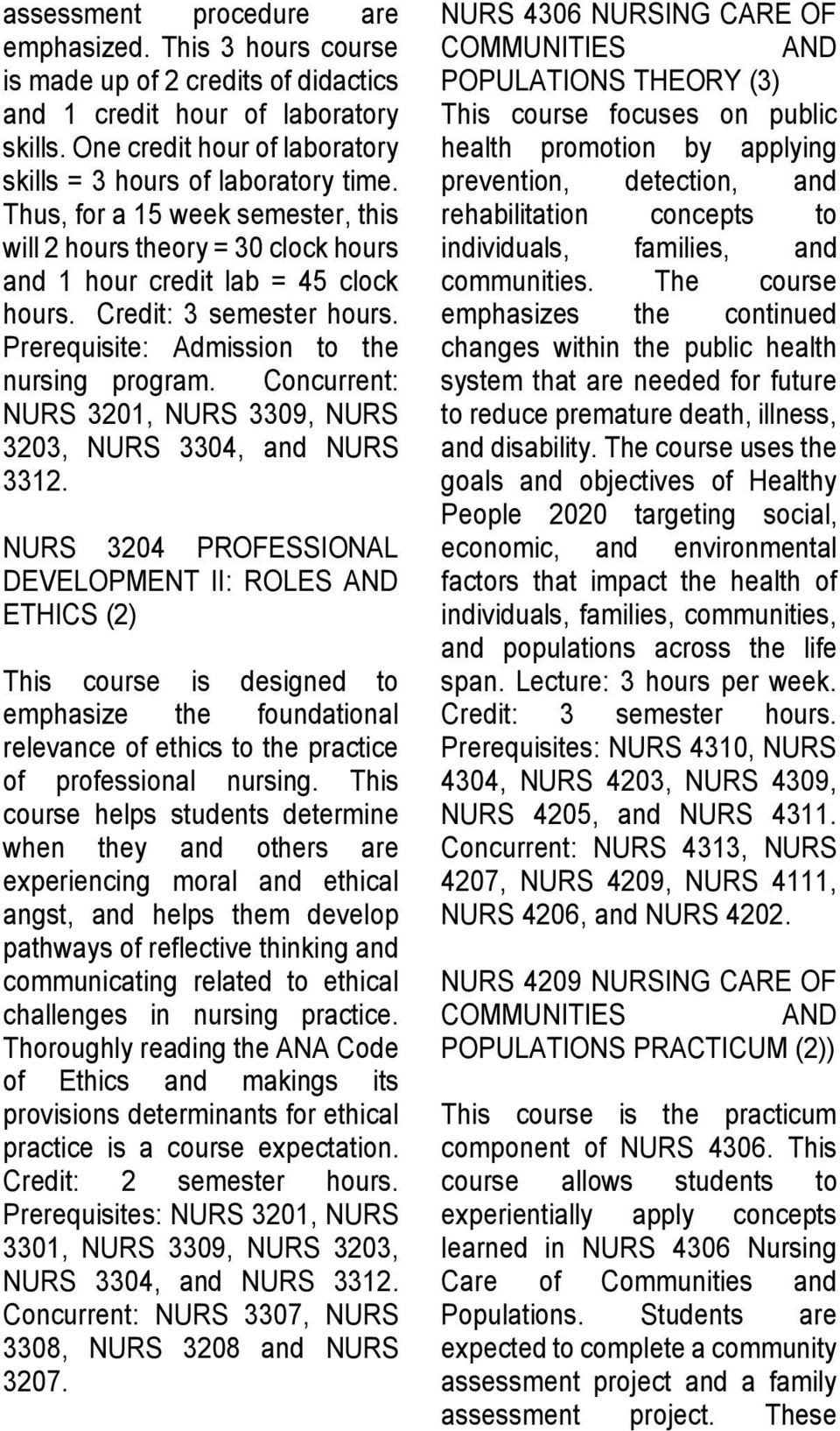Concurrent: NURS 3201, NURS 3309, NURS 3203, NURS 3304, and NURS 3312.