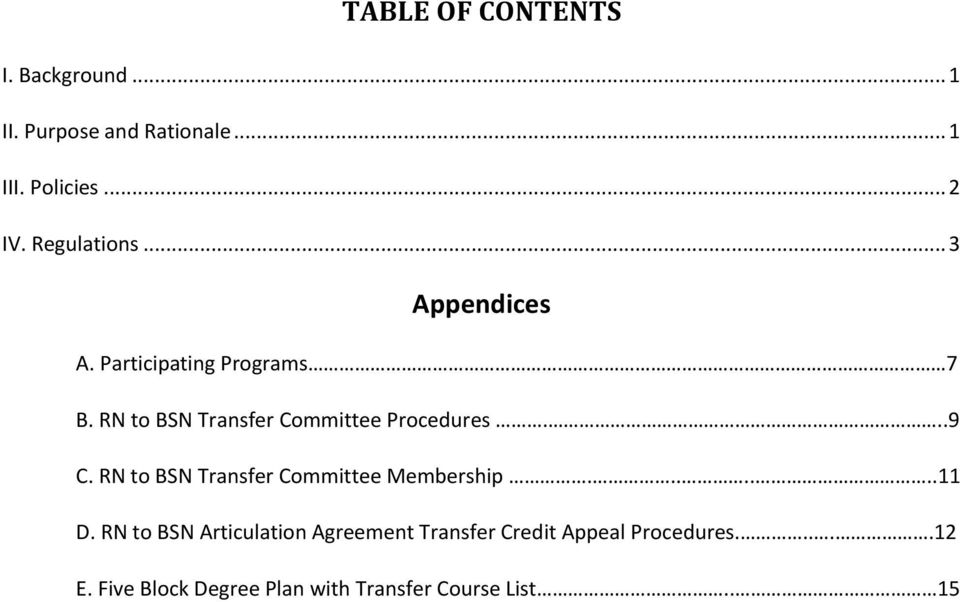 RN to BSN Transfer Committee Procedures...9 C. RN to BSN Transfer Committee Membership.......11 D.