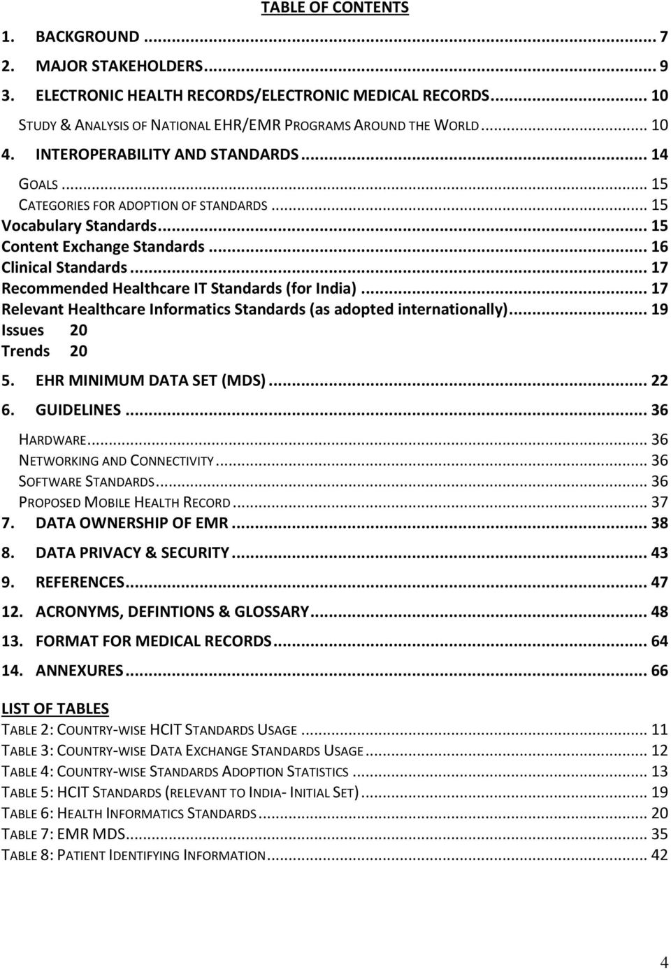 .. 17 Recommended Healthcare IT Standards (for India)... 17 Relevant Healthcare Informatics Standards (as adopted internationally)... 19 Issues 20 Trends 20 5. EHR MINIMUM DATA SET (MDS)... 22 6.