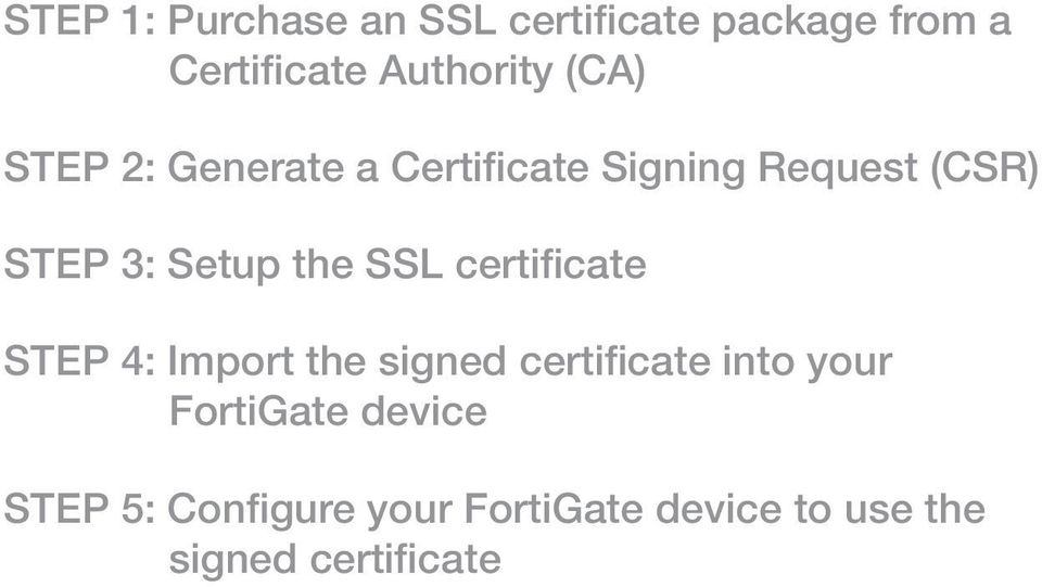 the SSL certificate STEP 4: Import the signed certificate into your