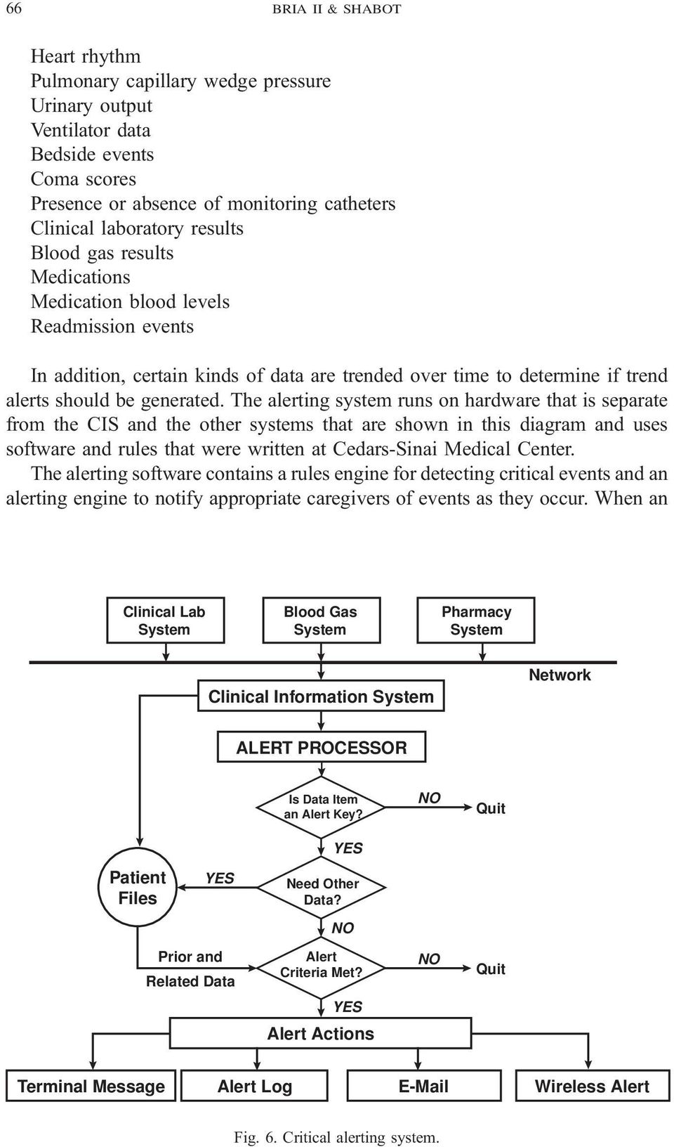 The alerting system runs on hardware that is separate from the CIS and the other systems that are shown in this diagram and uses software and rules that were written at Cedars-Sinai Medical Center.