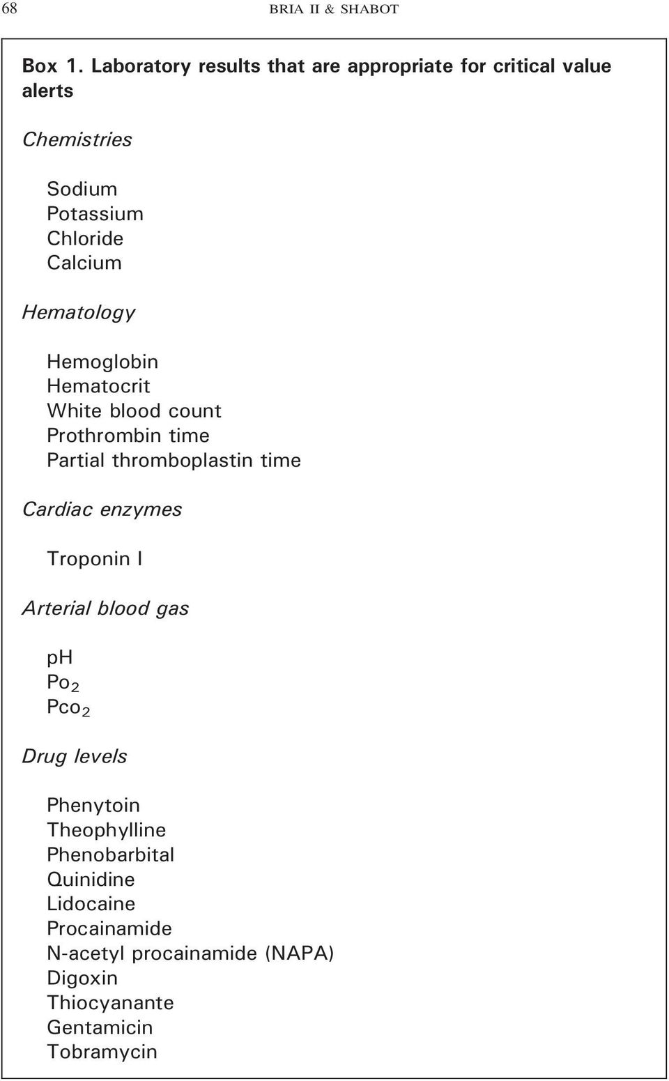 Hematology Hemoglobin Hematocrit White blood count Prothrombin time Partial thromboplastin time Cardiac enzymes